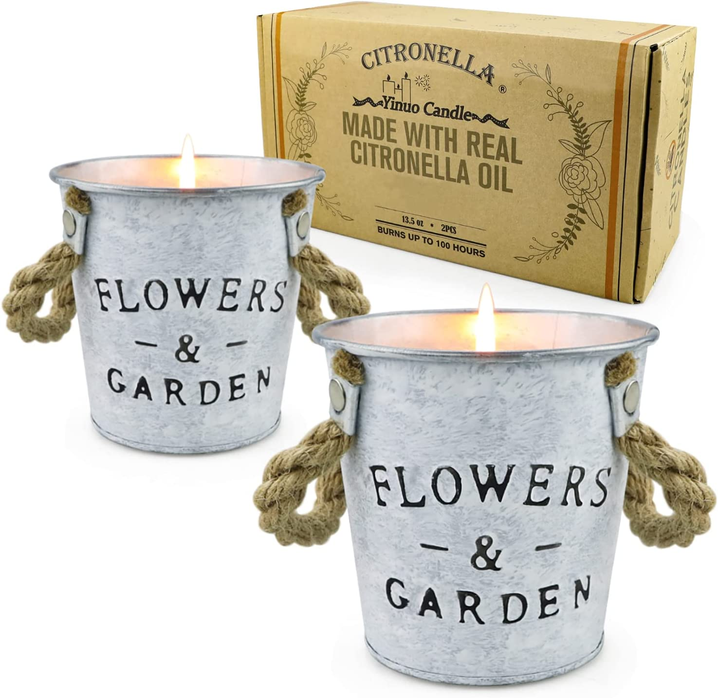 Citronella Candles Outdoor and Indoor, Large Citronella Scented Soy Candles with Lemongrass Oil, 2 Pack, 13.5 oz