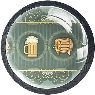 Boutons De Tiroir Verre Cristal Rond Poignées d'armoires tirer 4 pièces,Fond de bière
