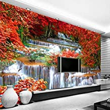 3D Wallpaper Red Tree Waterfall Poster Giant Design Modern Wall Decal Dormitorio Sala de estar Oficina Corredor Decoración de la pared Papel tapiz no tejido Papel tapiz 3D Decoración-250cm×170cm