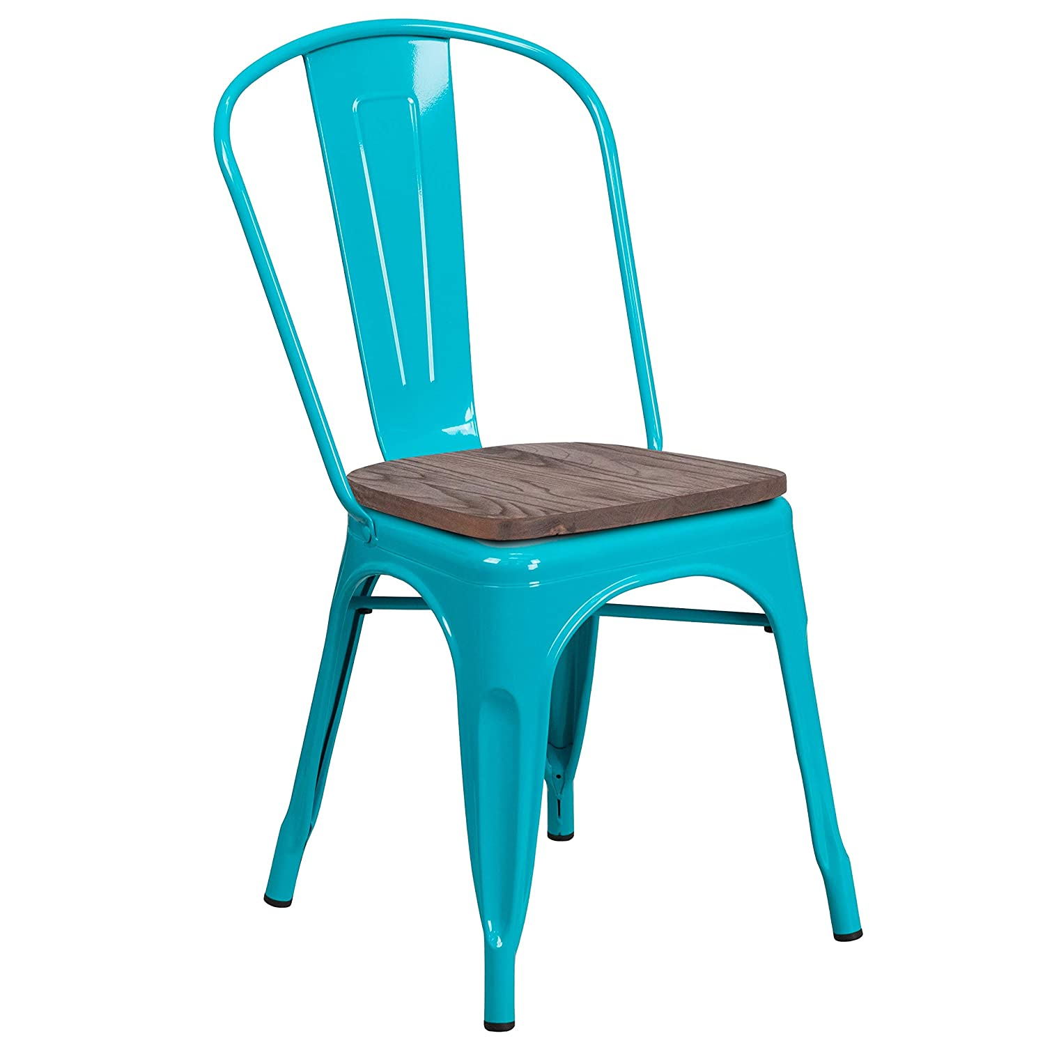 Super beauty product restock quality top! MFO Crystal Teal-Blue Popularity Metal Stackable Chair Seat Wood with