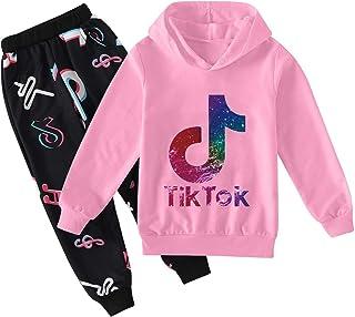 2 Piezas TIK Tok Conjuntos para Niños Unisex TIK Tok Sudadera con Capucha y Pantalones de Chándal
