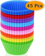 Silicone Cupcake Liners, Selizo 45 Pcs Reusable Silicone Baking Cups Nonstick Muffin Molds for Cake Balls, Muffins, Cupcak...