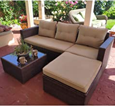 SUNSITT Outdoor Sectional Sofa 4 Piece Furniture Set All Weather Brown Wicker with Beige Seat Cushions, Ottoman & Glass Coffee Table | Patio, Backyard, Pool | Steel Frame