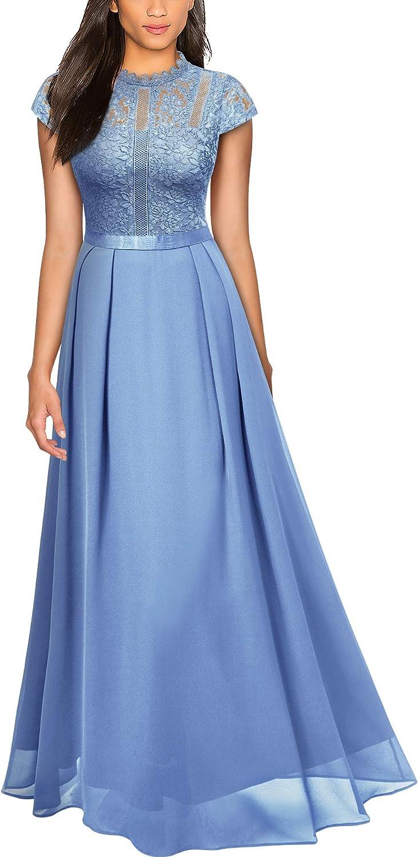 Miusol Women's Formal Scoop Neck Floral Lace Bridesmaid Maxi Dress