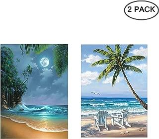 [2 Pack] 5D Diamond Painting Kit Full Drill, Annomor DIY Diamond Rhinestone Kits Embroidery Cross Stitch Arts Craft, Home and Office Wall Decor Gift, 11.8'' X 15.7'' (Beach&Palm Tree)