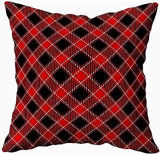 Ducan Lincoln Pillow Case 2PC 18X18,Fundas De Almohada,Fondo De Patrón De Cuadros De Tartán Blanco Negro Rojo Patrones De Camisa De Franela Fundas De Almohada De Sofá De Moda,Fundas De Almohada