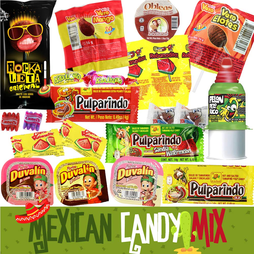 Mexican Candy Assortment Bag Mix (20 COUNT). Best Mexican Snacks Variety of Spicy, Sweet and Sour Mexican Candies. Dulces Mexicanos. Perfect Mexican Candy Bulk Gift Set by Pawesome Things LLC