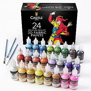 Château de blocs d'art de peinture Tissu 3d–24Premium Couleurs vibrantes PUFFY Idéal pour les vêtements, toile, verre e...