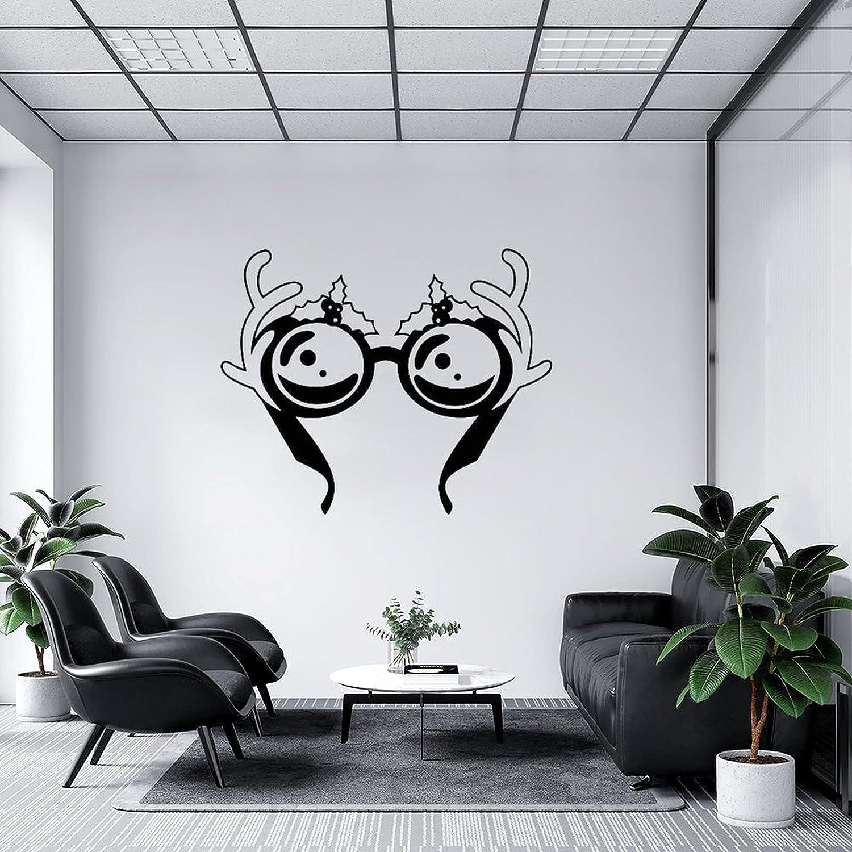 by Unbranded Pegatinas de pared Raindeer ciervo ciervo cuernos de ciervo Ilustración de gafas calcomanía de vinilo para coches | Adhesivo de pared Arte Murales Decoración fresca 35.5 pulgadas de ancho