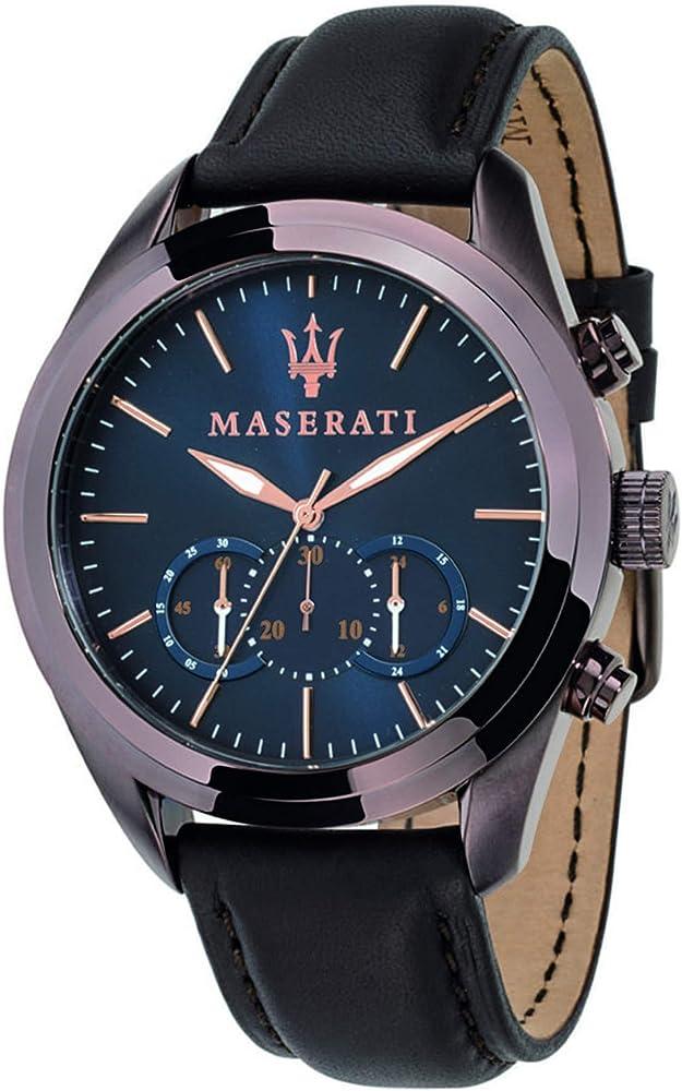 Maserati orologio da uomo, collezione traguardo cronografo, in acciaio e cuoio 8033288702207