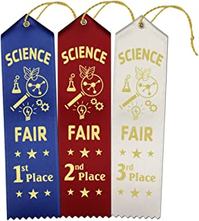 1st – 2nd – 3rd Place Science Fair Award Ribbons – 45 Count Value Bundle – 15 Each Blue-Red-White – Includes Event Card and String – Made in America