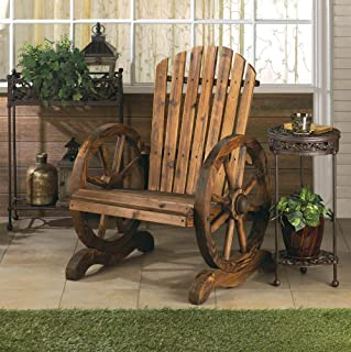 Montree Shop Country Western Style Living Wagon Wheel Adirondack Chair Outdoor Patio Garden