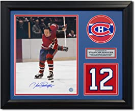 Yvan Cournoyer Montreal Canadiens Autographed Autograph Retired Jersey Number 23x19 Frame - Certificate of Authenticity Included
