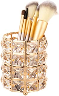 Feyarl Crystal Beads Makeup Brush Holder Pen Pencil Holder Storage Organizer Container (Gold)