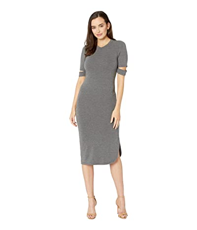 American Rose Quinn Luxe French Terry Midi Dress (Charcoal) Women