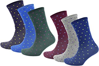 Pack de 6 calcetines de lunares coloridos para hombres, ricos en algodón