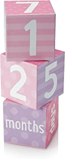 Tiny Ideas Photo Sharing Keepsake Age Blocks, Perfect Gift for New Parents, Pink/Purple
