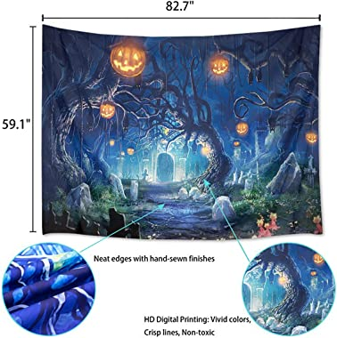 """OZMI Halloween Tapestry, 82.7"""" x 60"""" Large Wall Hanging Tapestry, Night Tapestry Wall Hanging Haunted Woods with Grav"""