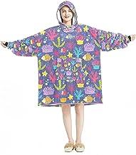 Deken Hoodie, Casual Zachte Microfiber Housecoat, Warm Nachthemd voor Mannen Vrouwen met Coral Reef Fish Patroon Zee Plant...