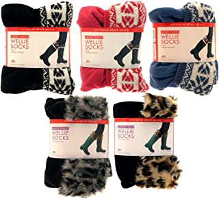 Para mujer Botas de bota zapatero para botas de agua calcetines liners invierno Nieve Ladies Faux Fur Cuff leopardo Knited Fairisle