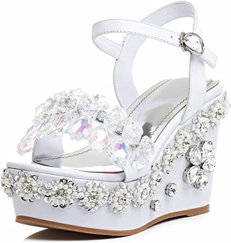 YTTY Chaussures Femme Sandales à Talons Hauts Pente Douce avec Diahommets d'eau Déduction Dent avec Argent Blanc 34
