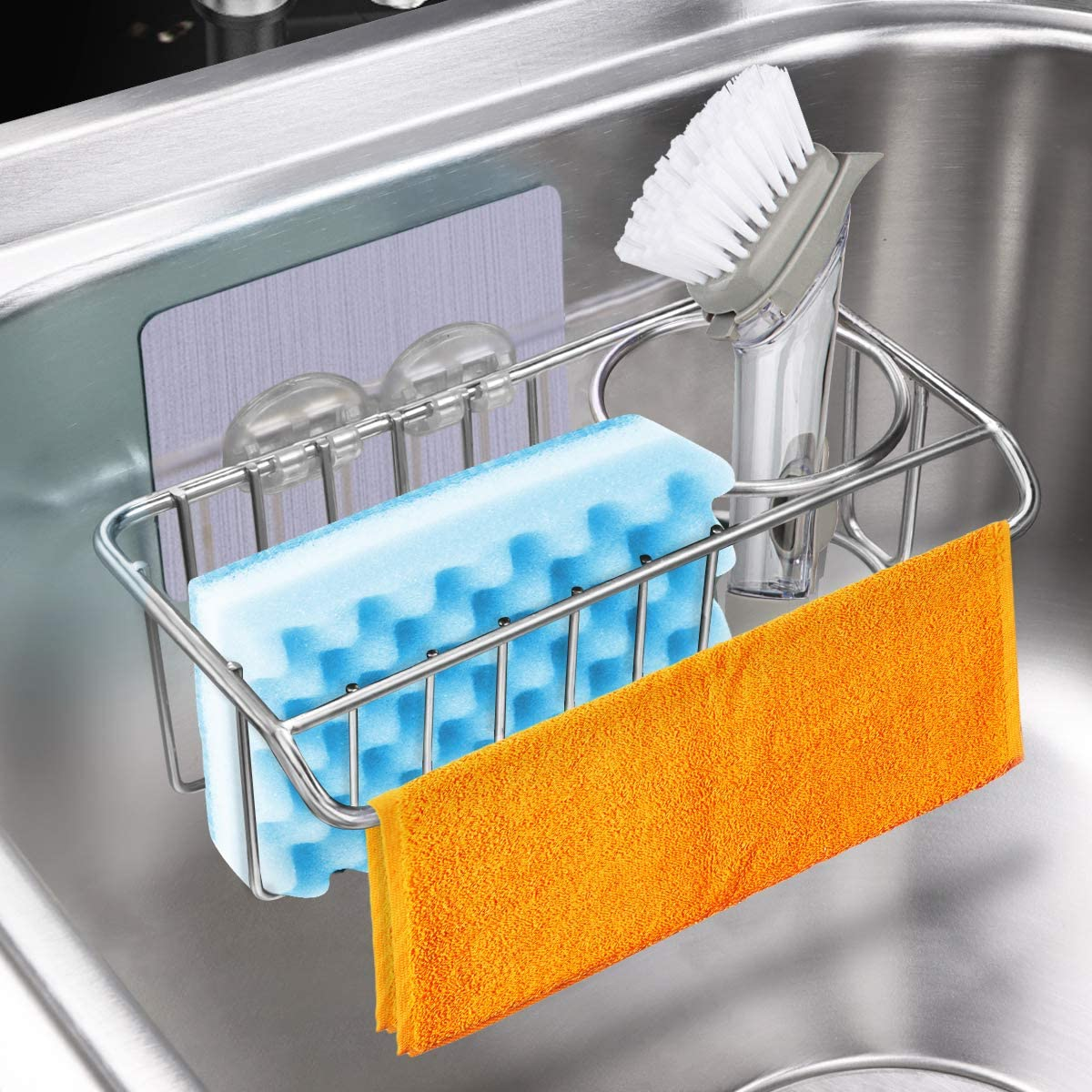 Aiduy 3-in-1 Adhesive Kitchen Sink Caddy Opening large release sale H Holder Sponge + Cheap mail order shopping Brush