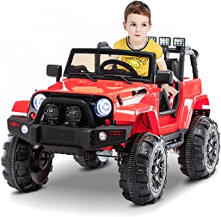 AuAg Electric Ride On Car/Truck Ride on Toys with Parental Remote Control 12V Two Speeds LED Lights MP3 Player Prerecorded Kid Song Easy to Assemble Indoor and Outdoor Gift for Kids (Red)