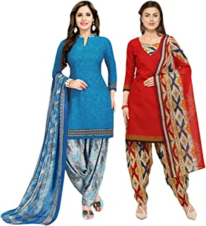 Rajnandini Women's Blue And Light Pink Cotton Printed Unstitched Salwar Suit Material (Combo Of 2) (Free Size)