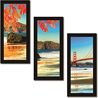 Paper Plane Design Set of 3 Wall Painting with Frames Nature Theme Painting Wall Art Hanging