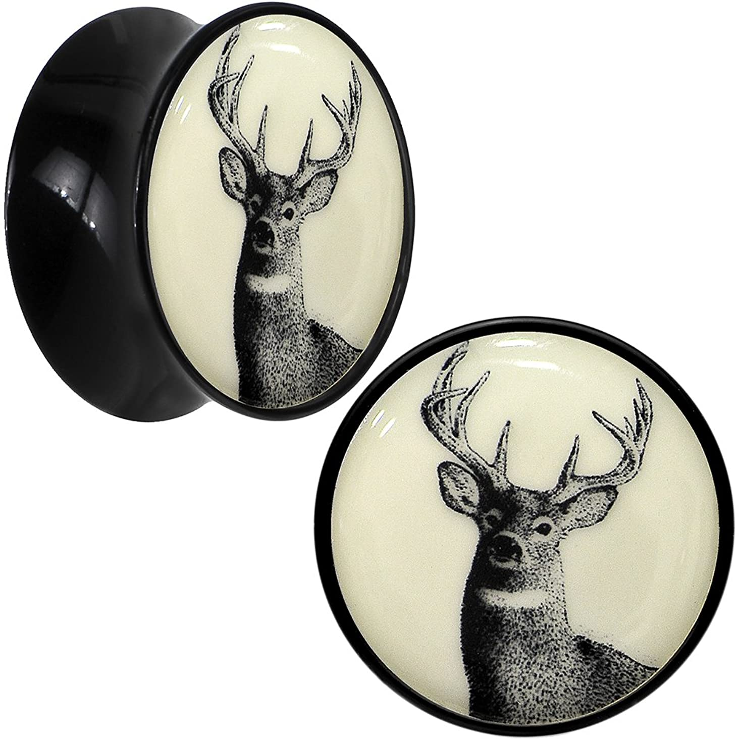Body Candy Black Acrylic Buck Deer Glow in The Dark Saddle Ear Gauge Plug Pair 18mm