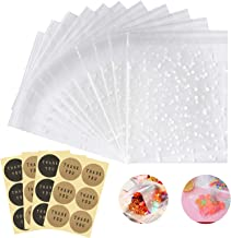 200pcs Self Adhesive Cookie Bags, Cellophane Treat Bags White Polka Dot Cookie Bags for Wedding Party Gift Giving with 200...