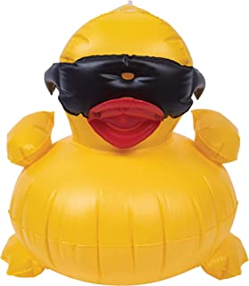 GAME 5001 Inflatable Derby Duck Pool Toy, Easy-to-Inflate, Durable Vinyl, Hanging Loop