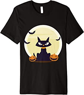 Black Cat and Full Moon with Pumpkins and Bats Halloween Premium T-Shirt