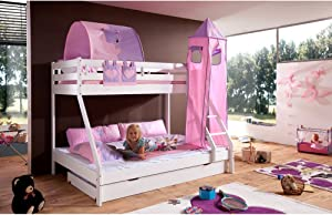 Relita Mike Bunk Bed with Bed Drawers and 3 nbsp Pieces TEXTILS  Pink Purple  Made Solid Beech Wood White Lacquered