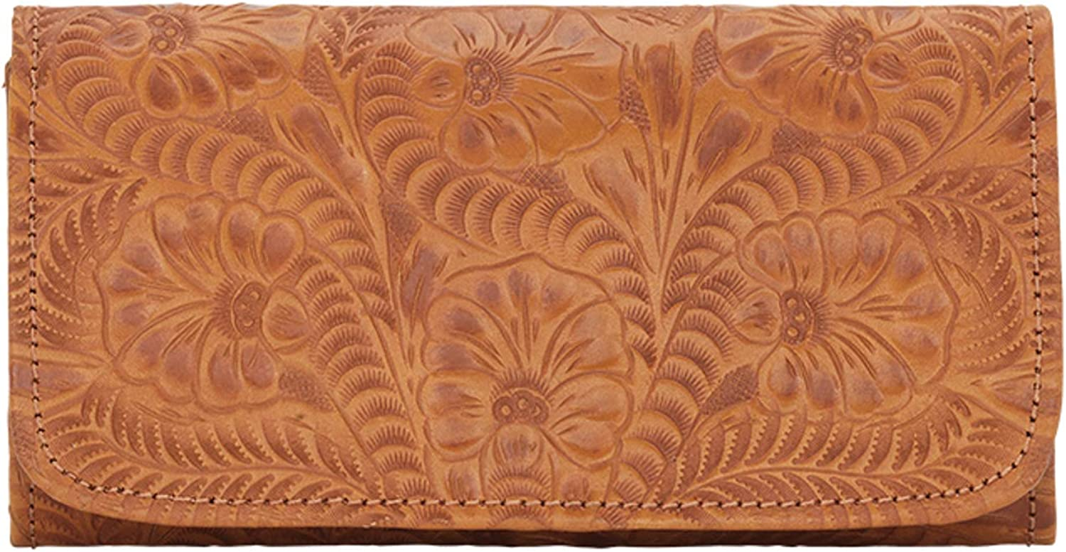 American Max Brand Cheap Sale Venue 80% OFF West Women's Tri-Fold Wallet Closure With Snap Tan One