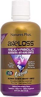NaturesPlus Ageloss Rejuvabolic Resveratrol Anti-Aging Liquid Supplement - Mixed Berry Flavor - Vegetarian, Gluten Free - ...