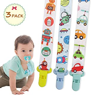 Pacifier Clip, pacify Holder use The Latest Anti-Shedding Design and BPA Free, pacify Clips Works with Most Pacifier and Baby teethers (3 Pack)