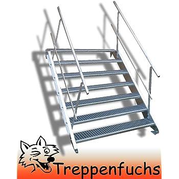 Aussentreppe Metaltreppe Gartentreppe 2 Stufen 120cm breit verzinkt GH 30-40cm