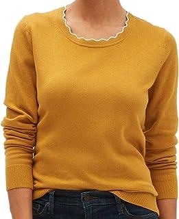 Banana Republic Women`s Washable Forever Scallop Crew Neck Sweater, Yellow