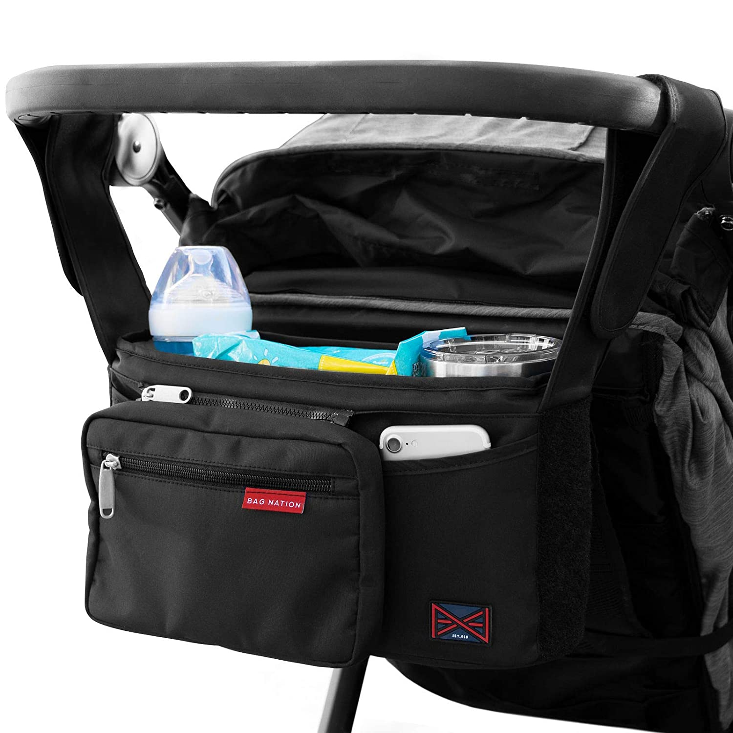 Bag Nation Universal Stroller Organizer Caddy Featuring Cup Holders, Large Main Pocket Compatible with Uppababy, Baby Jogger, Britax, Bugaboo, BOB, Umbrella and Pet Stroller - Black