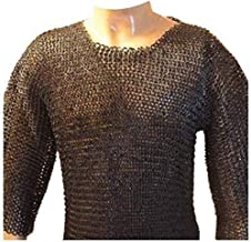 VTC KHOOBA Chainmail Shirt Flat Riveted with Washer Black Chainmail Hauberk XXL Size Sale