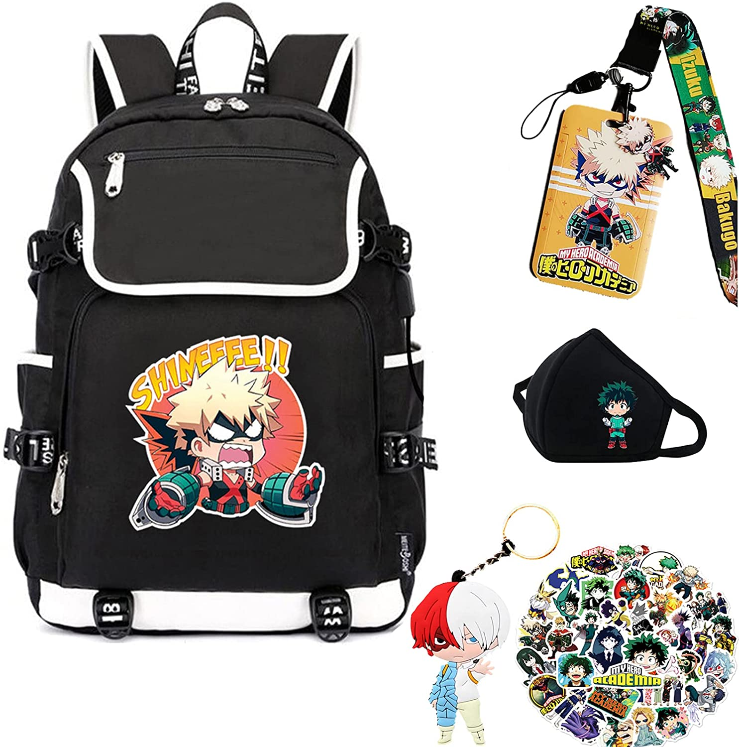 My Hero Academia Max 74% OFF Backpack with USB Charging wi Bookbag BNHA Port Miami Mall
