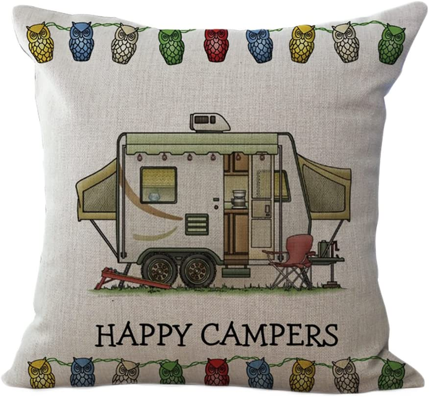 ChezMax Linen Sales results No. 1 Blend Max 77% OFF Happy Campers Square Cushion Decorati Cotton