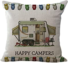 ChezMax Linen Blend Happy Campers Cushion Cover Cotton Pillowslip Square Decorative Throw Pillow Case 18 X 18''