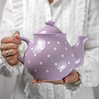 City to Cottage Handmade Violet and White Polka Dot Large Ceramic 1,7l/60oz/4-6 Cup Teapot with Handle and Lid, Unique Pottery Housewarming Gift for Tea Lovers