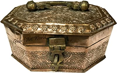 Global Art World Antique Old Beautifully Designed And heavy Metal Vintage Collectible Storing Paan And Other