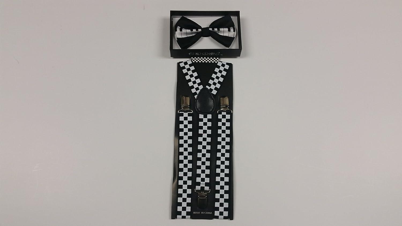Black and White Checker Suspender and Piano Key Bowtie