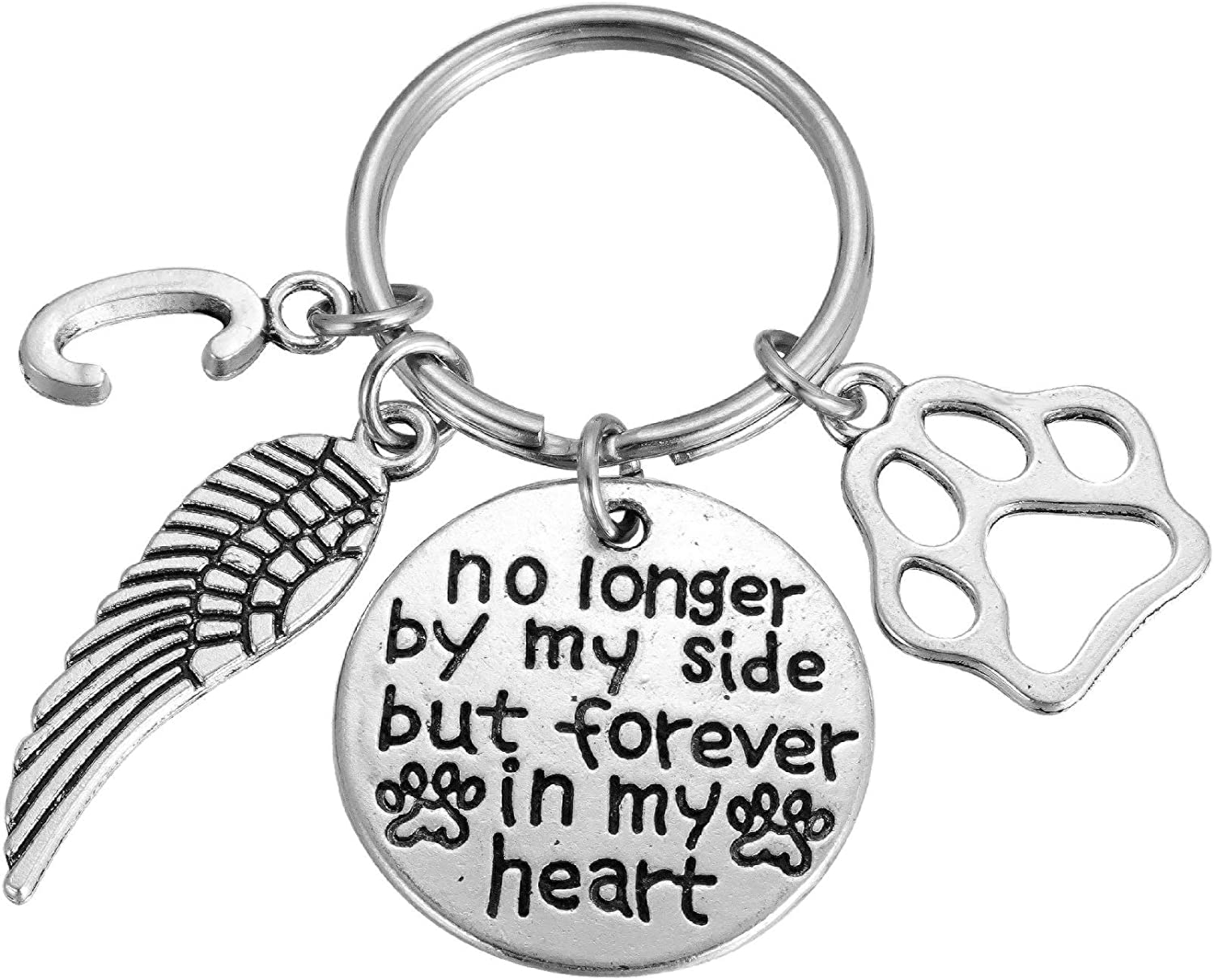 Dog Cat Memorial Keychain National products Manufacturer OFFicial shop Initial Keyring Paw Sympathy Prints fo