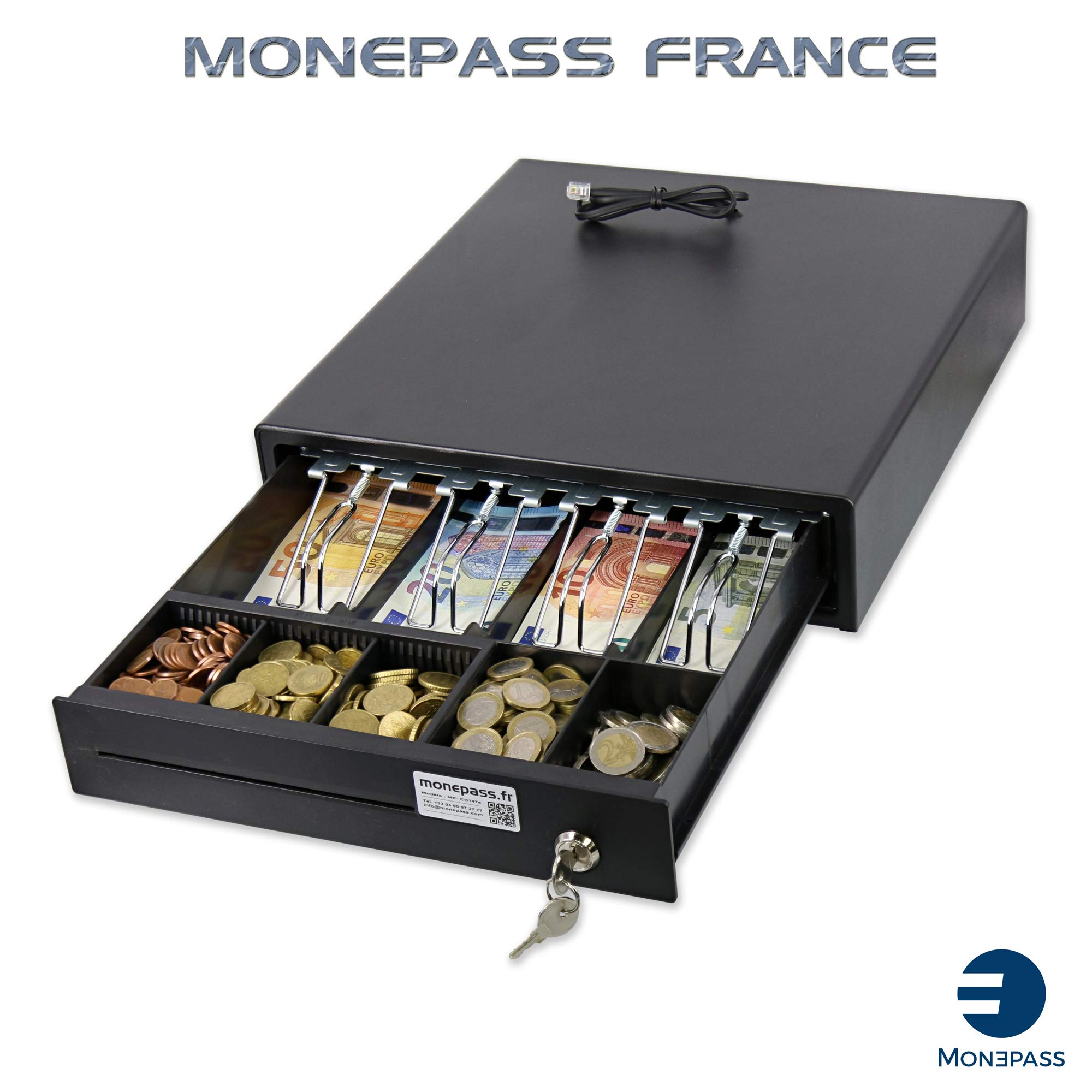 Cajón de caja con apertura automática (a través de conexión de impresora RJ) o manual mediante llave): 3 billetes / 8 piezas, color Compartiments : 4 billets + 1/5 pièces.: Amazon.es: Oficina y papelería