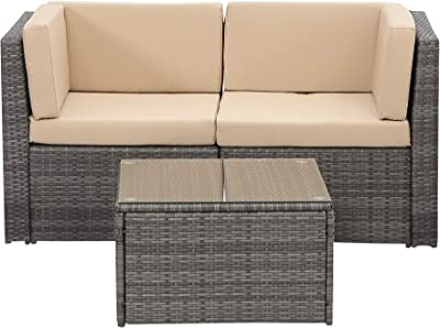 Wisteria Lane 5 Pcs Outdoor Furniture Set, Patio Sectional Sofa Couch Porch Wicker Conversation Set with Ottoma Glass Table Grey Wicker,Beige Cushions